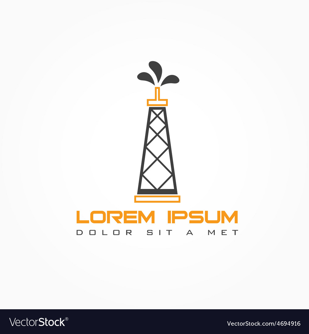 Oil rig abstract design template Royalty Free Vector Image