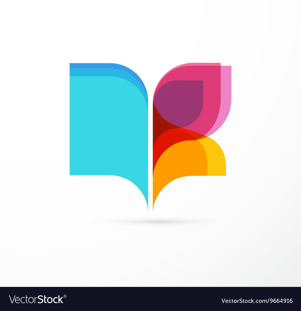 Open book - colorful concept icon of education