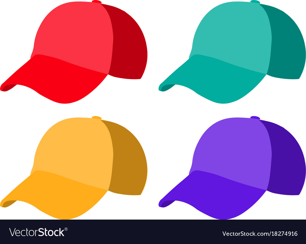 Set of realistic baseball cap templates colorful