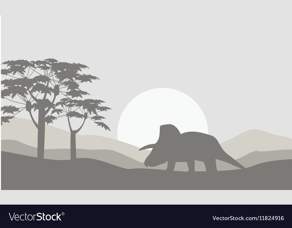 Silhouette of triceratops with fog scenery vector image