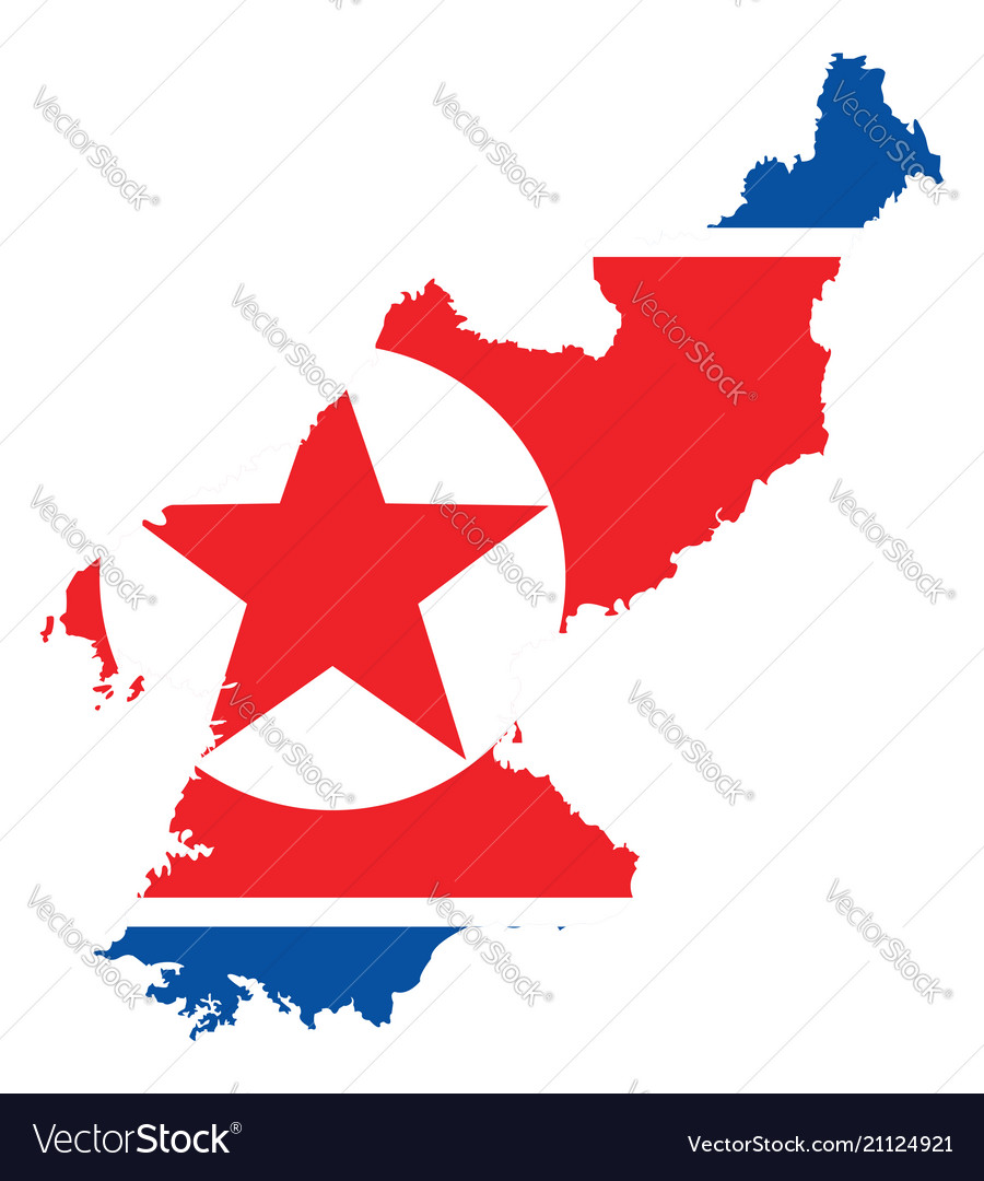 Background of north korea map and flag