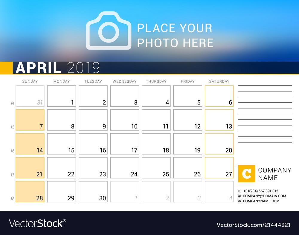 Calendar for april 2019 design print template