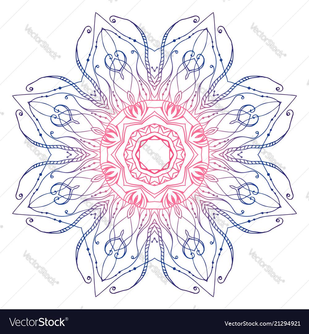 Circular mandala outline doodle pattern template Vector Image