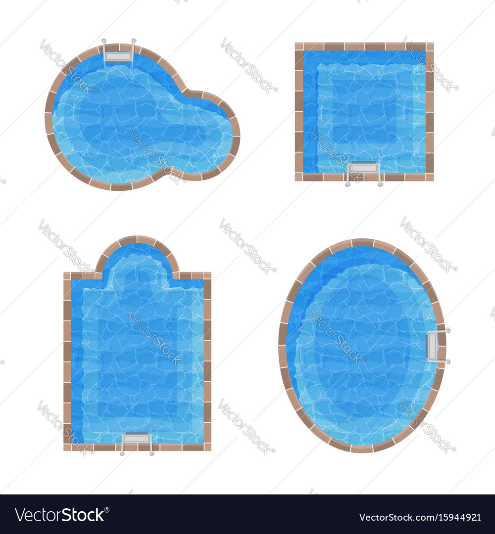 Different forms swimming pools set top view