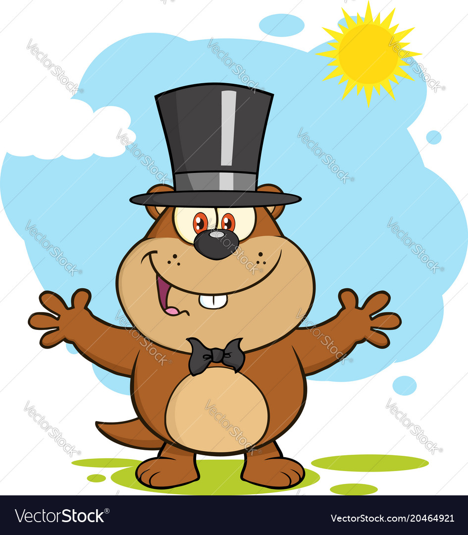Marmot cartoon character with open arms