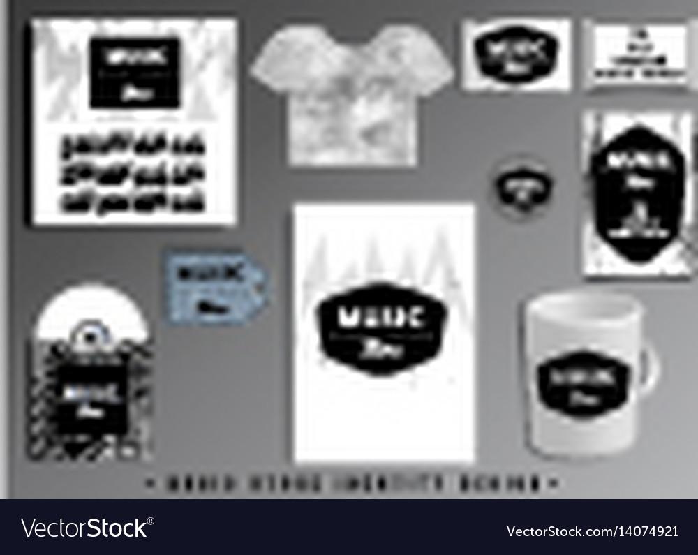Music store corporate identity template design set vector image