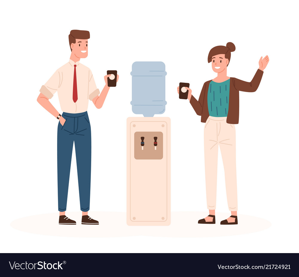 Pair of man and woman standing beside office
