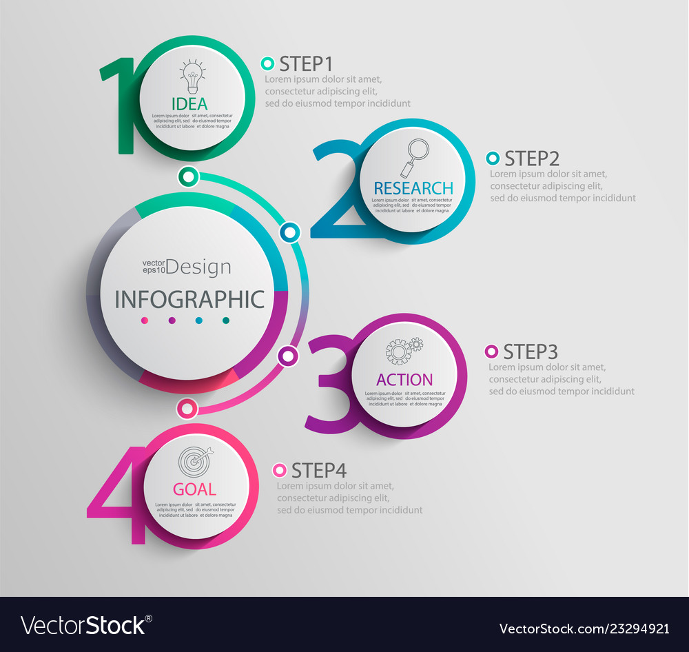 Paper infographic template with 4 round circle