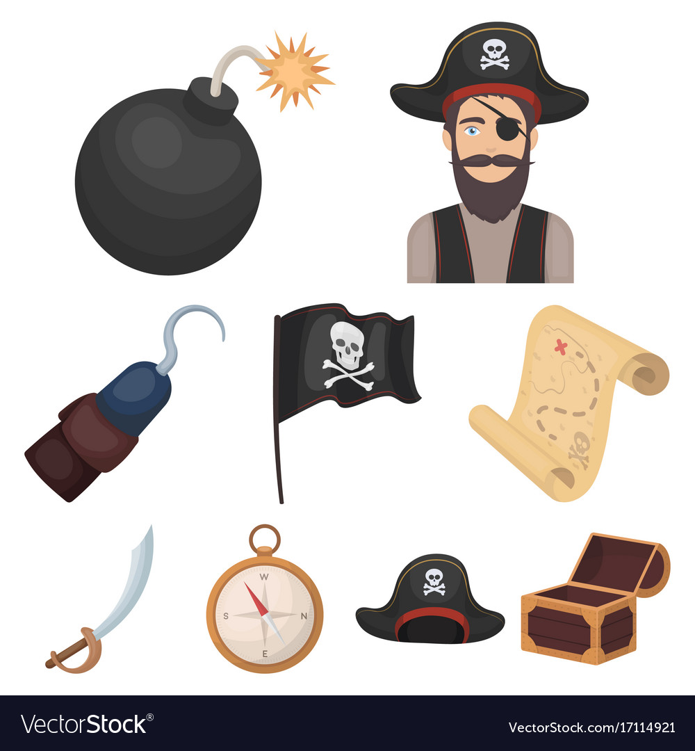 Pirates set icons in cartoon style big collection