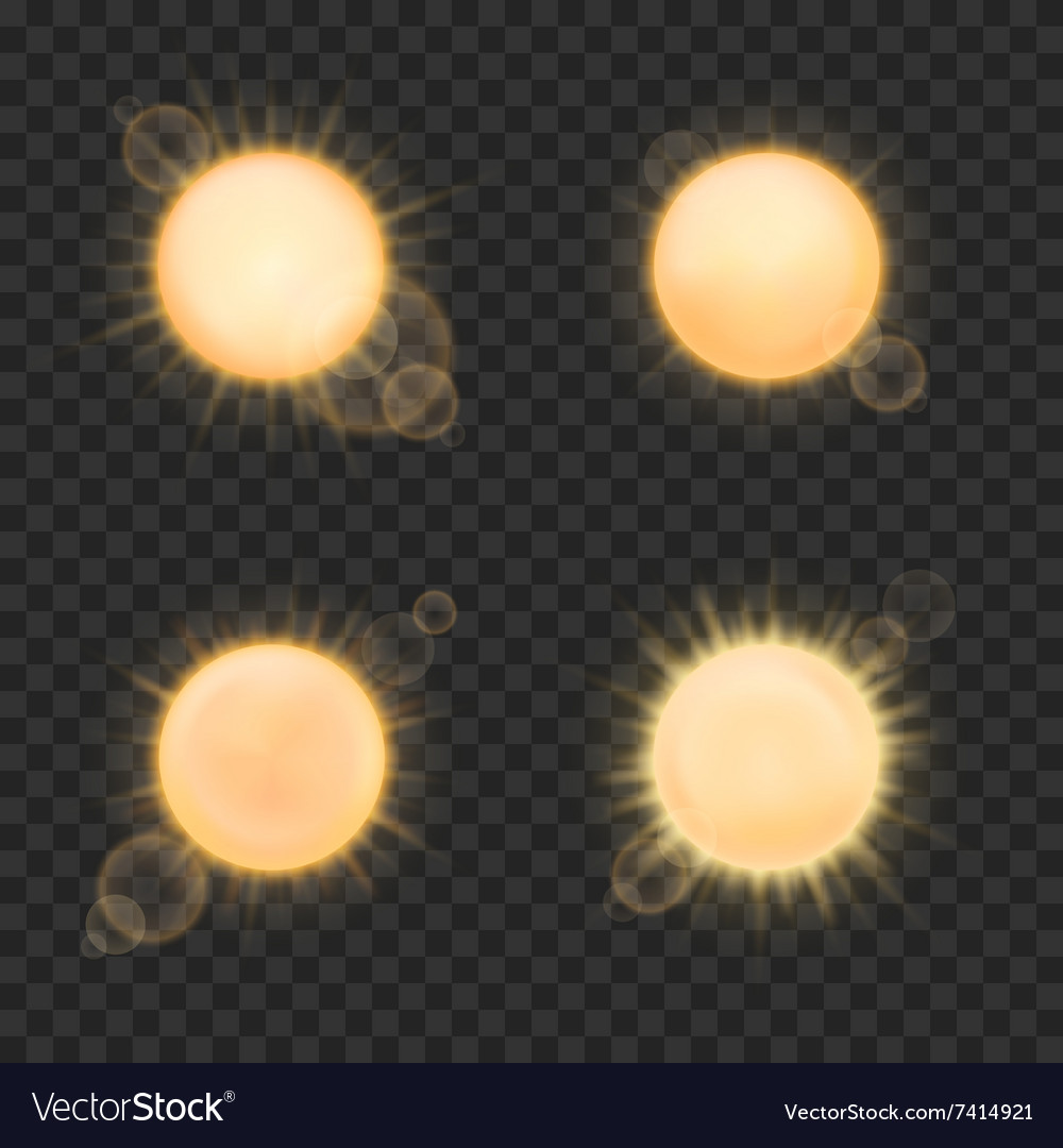 Realistic sun on plaid background