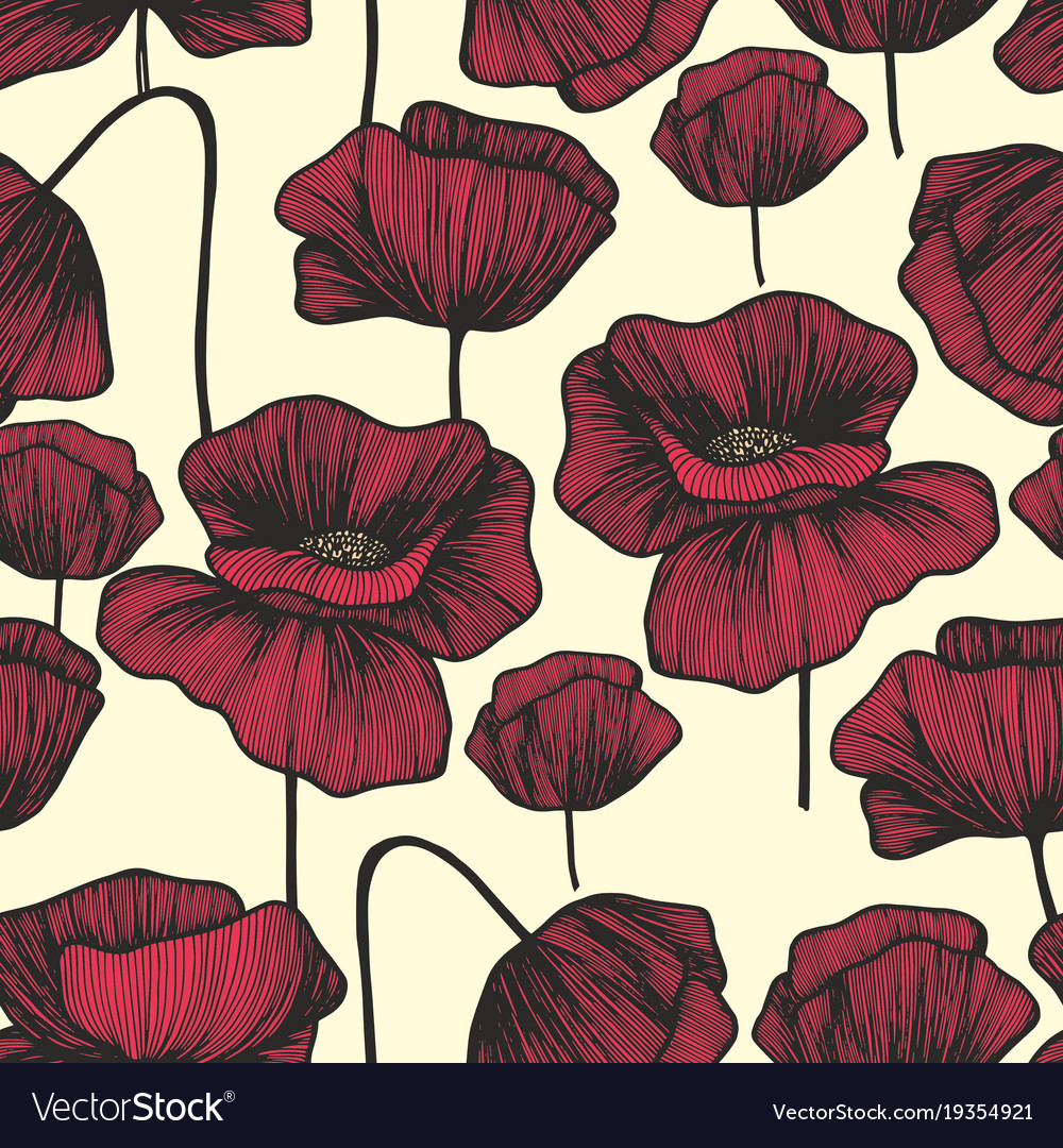 Red poppies on a light background seamless
