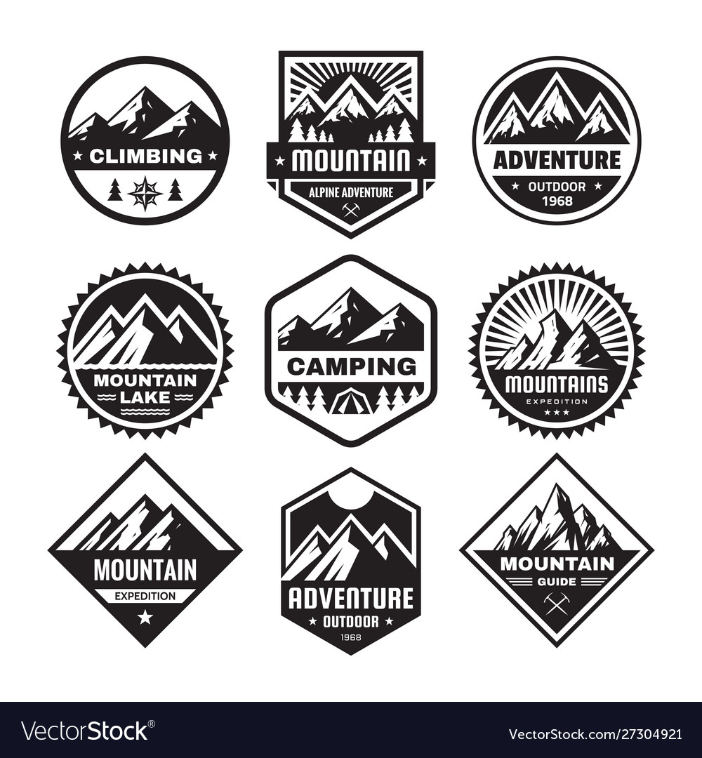 Set adventure outdoor concept badges camping e