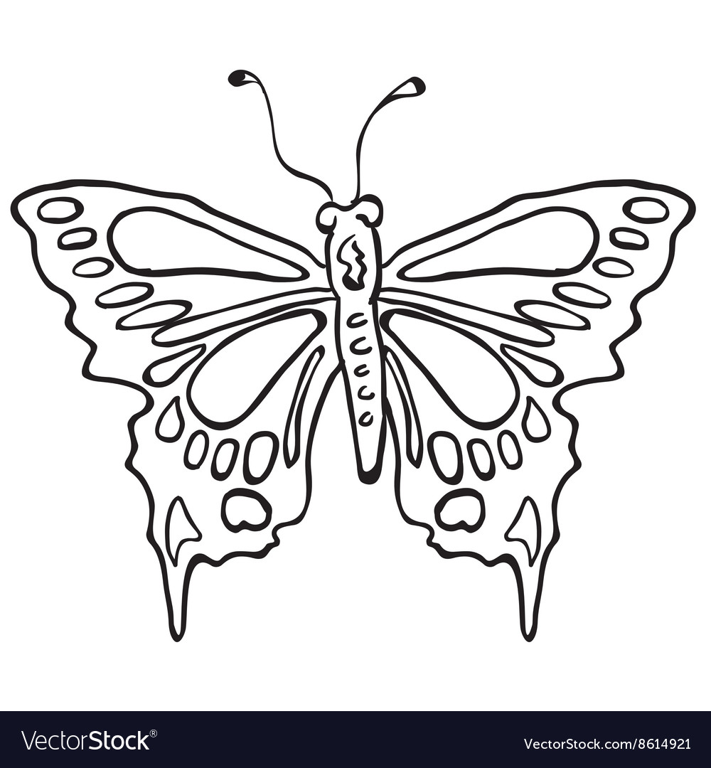 Simple black and white butterfly