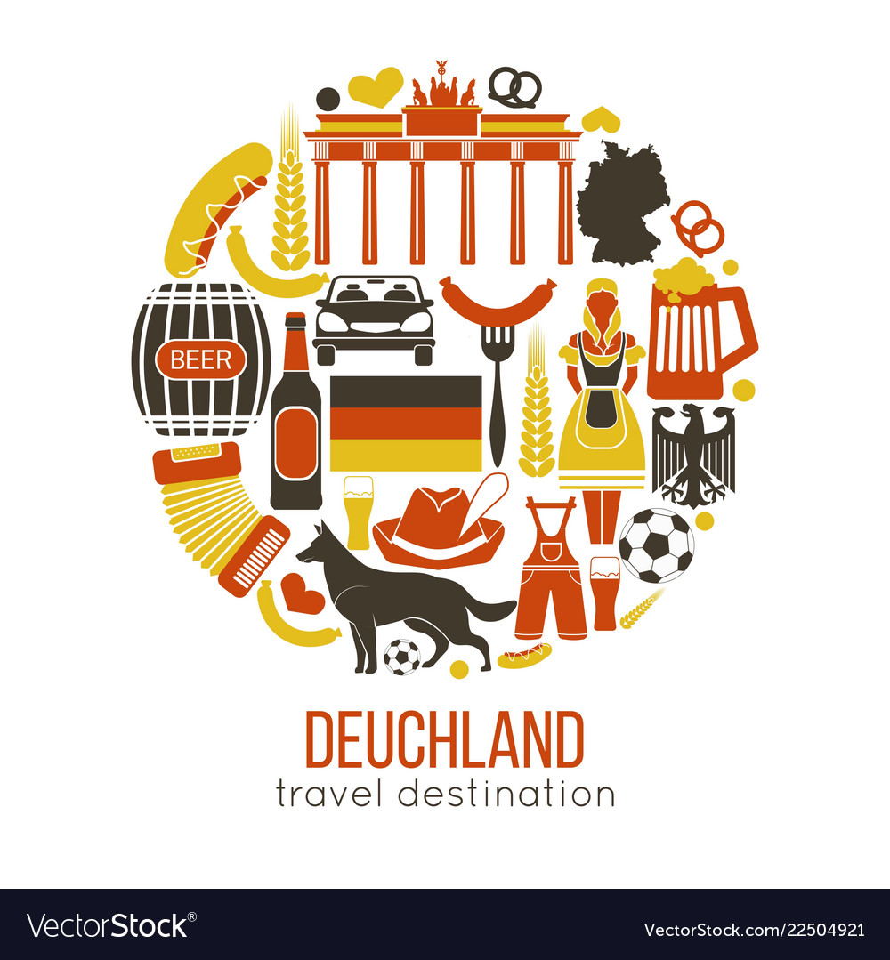 Travel concept germany landmark flat icons design vector