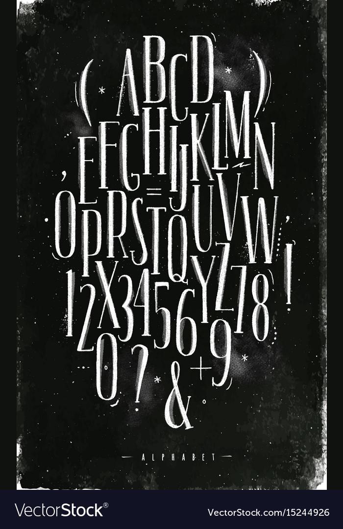 Alphabet gothic font chalk vector image