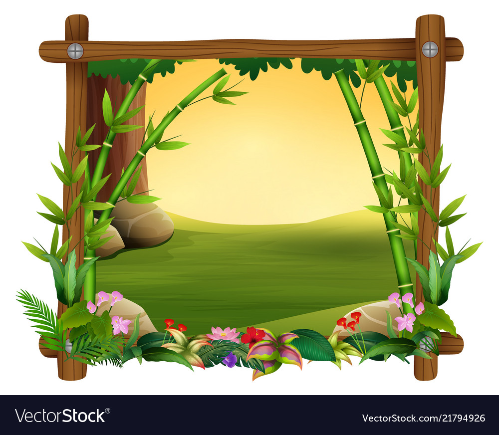 Bamboo Trees In Frame Nature Royalty Free Vector Image