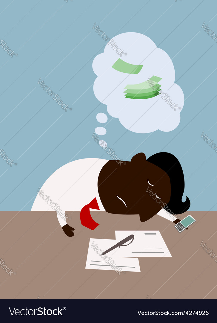 Cartoon black businessman dreaming about money