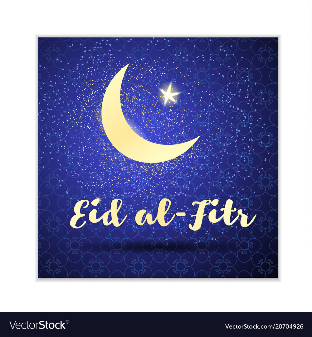 Eid al-fitr card with a crescent and a gold star
