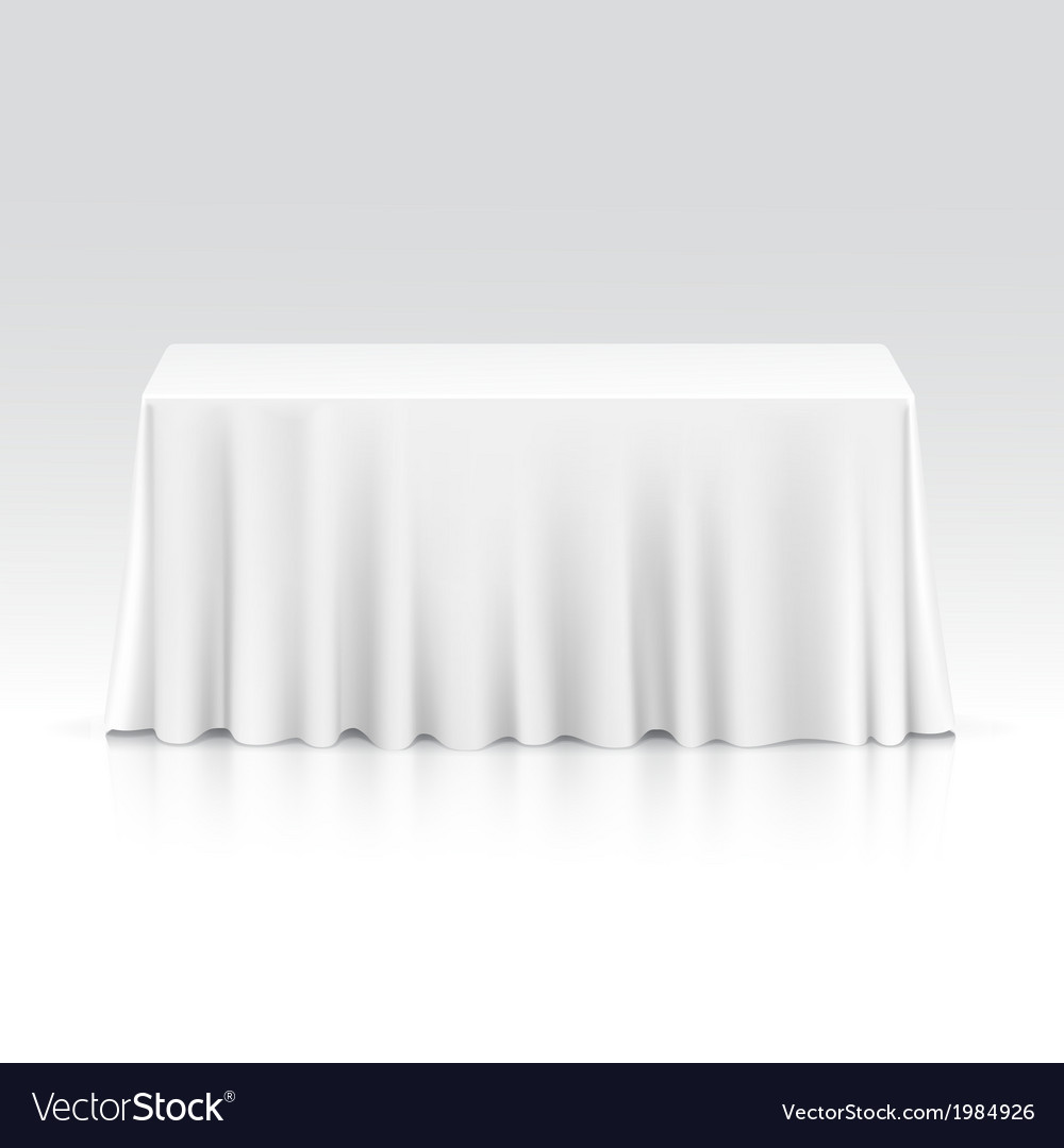 Empty Rectangular Table with Tablecloth