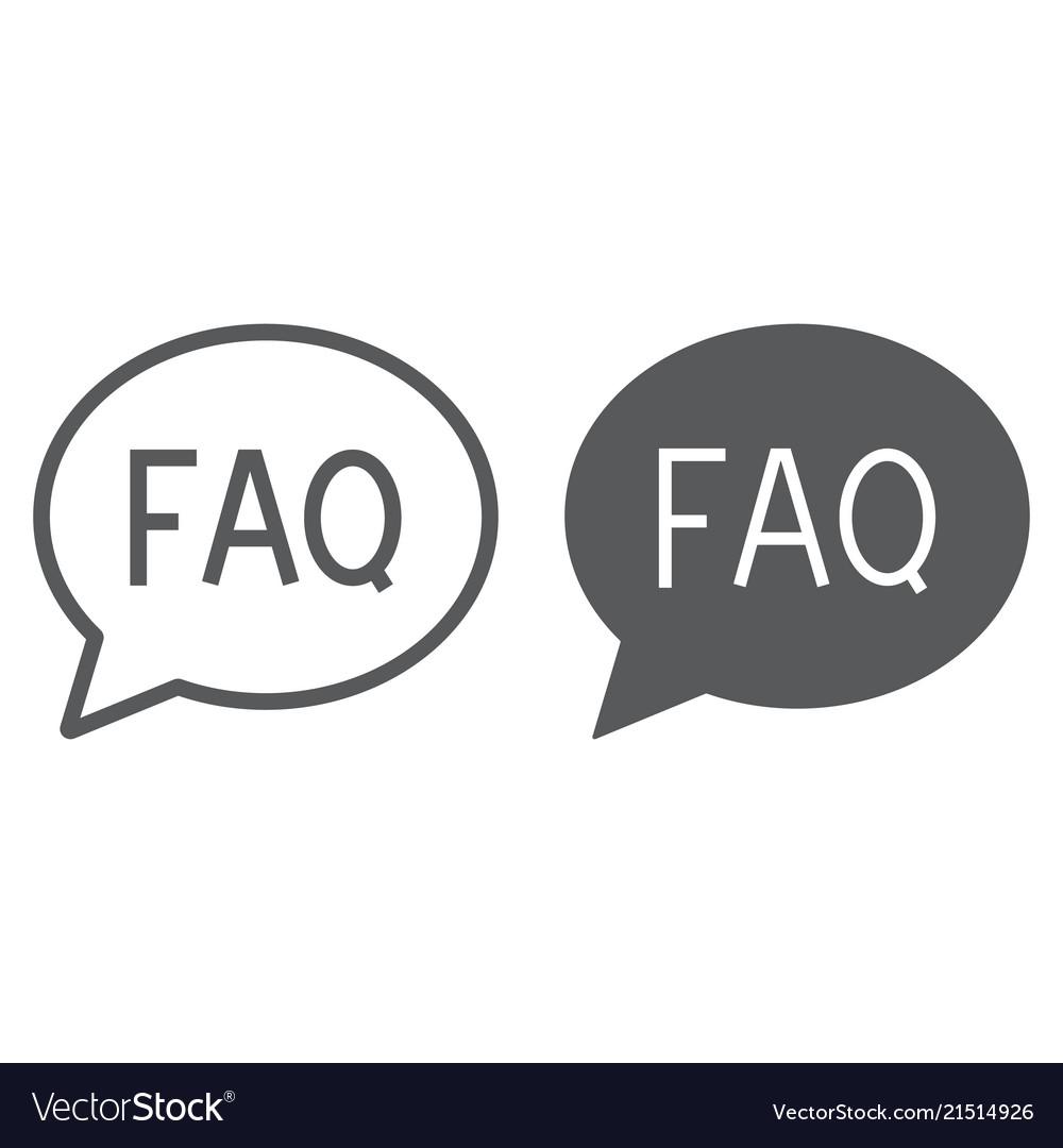 Faq line and glyph icon speech and bubble