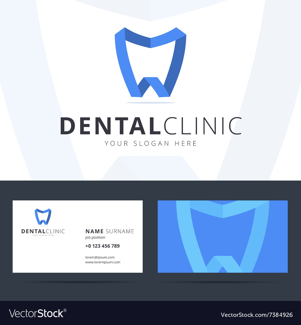 Logo and business card template for dental clinic vector image reheart Gallery