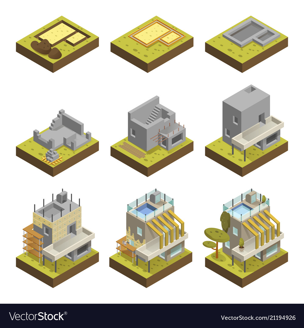 Modern house building stages
