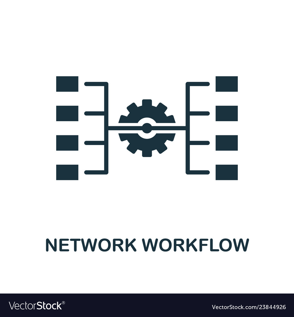 Network workflow icon monochrome style design