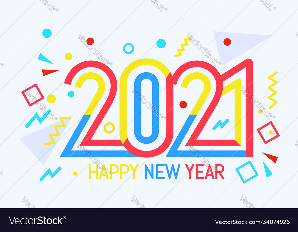 New year color 2021 number design