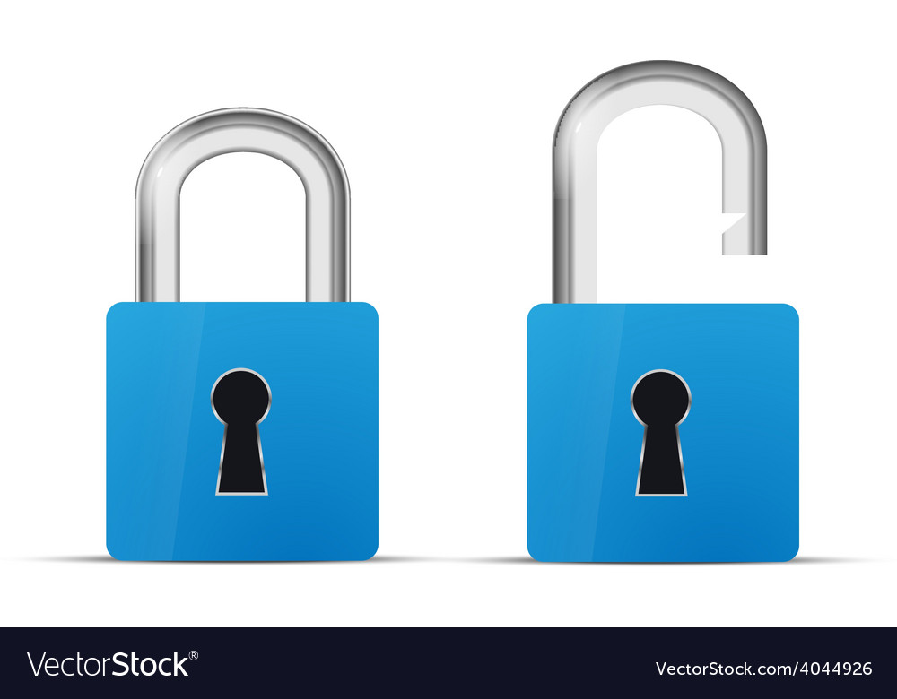 Opened and closed blue realistic lock icon