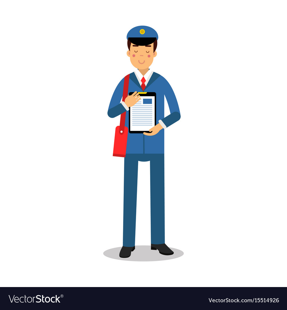 Postman in blue uniform with red bag holding