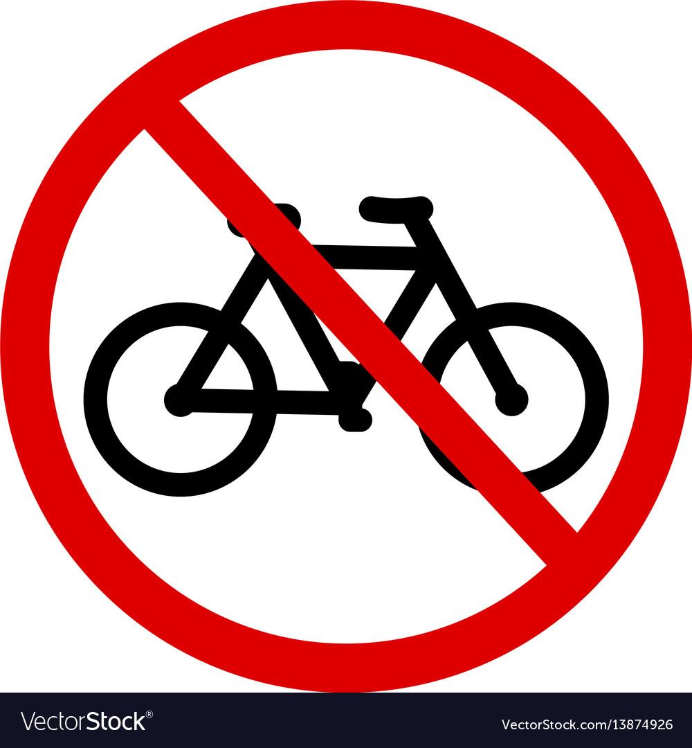 Sign no bicycle