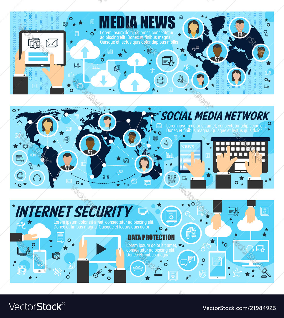 Social media network and internet news banners