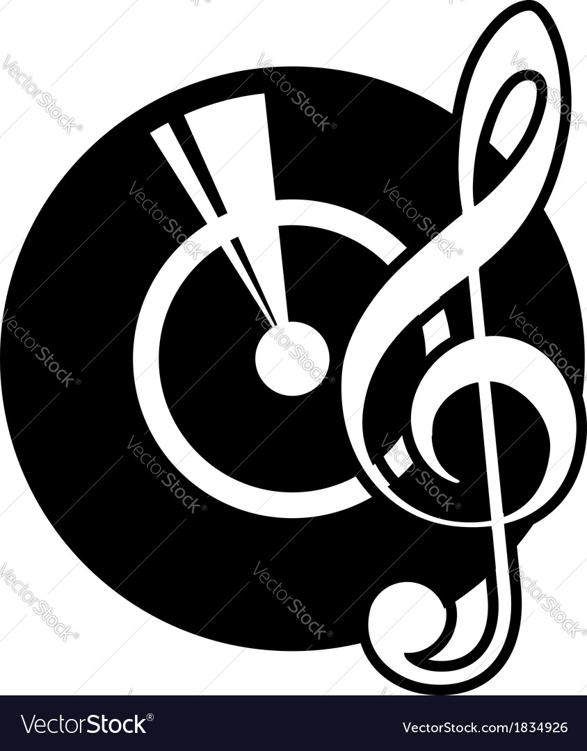 Vinyl record and a musical clef vector image