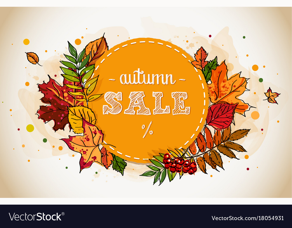 Autumn sale flyer template with hand-drawn leafs