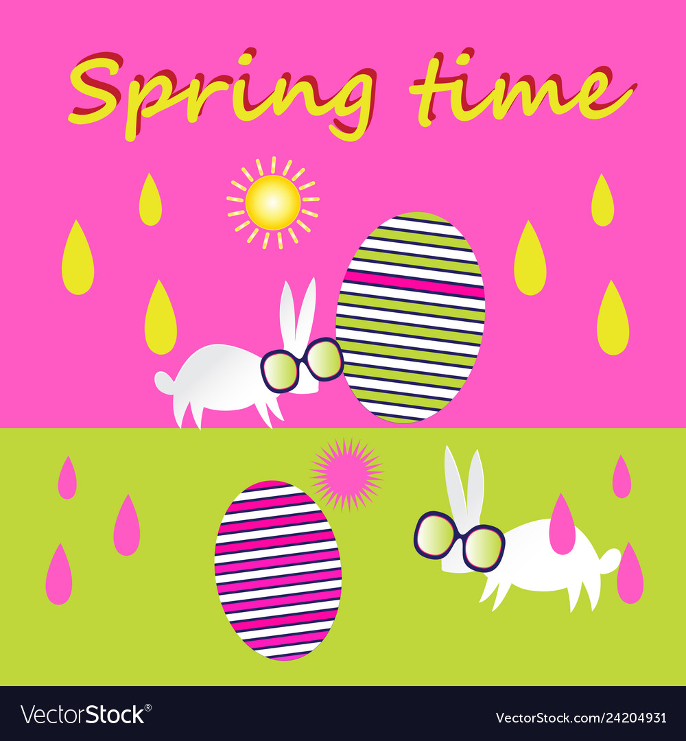 Bright unusual greeting card for happy easter