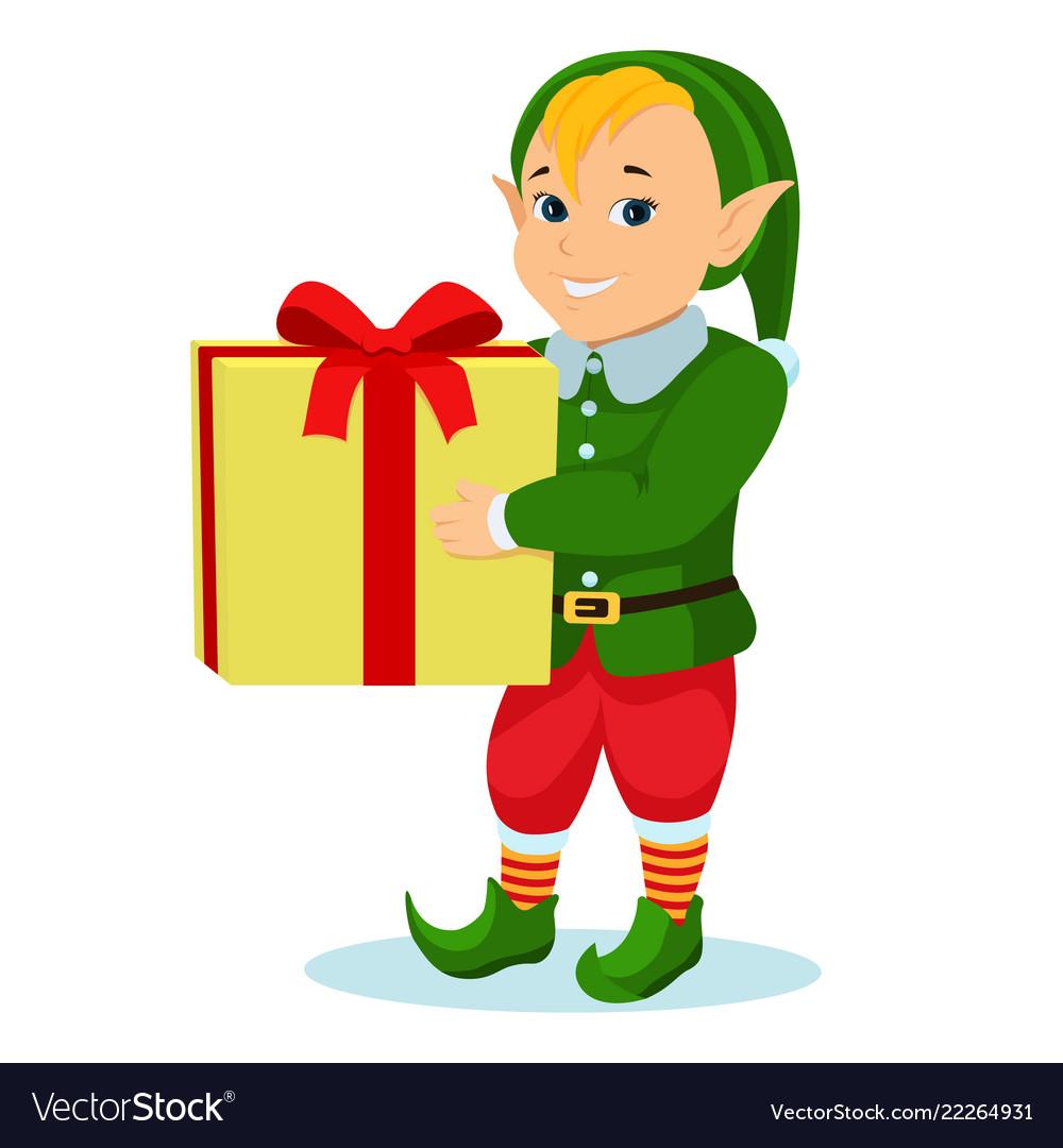 Cartoon christmas elf with a gift