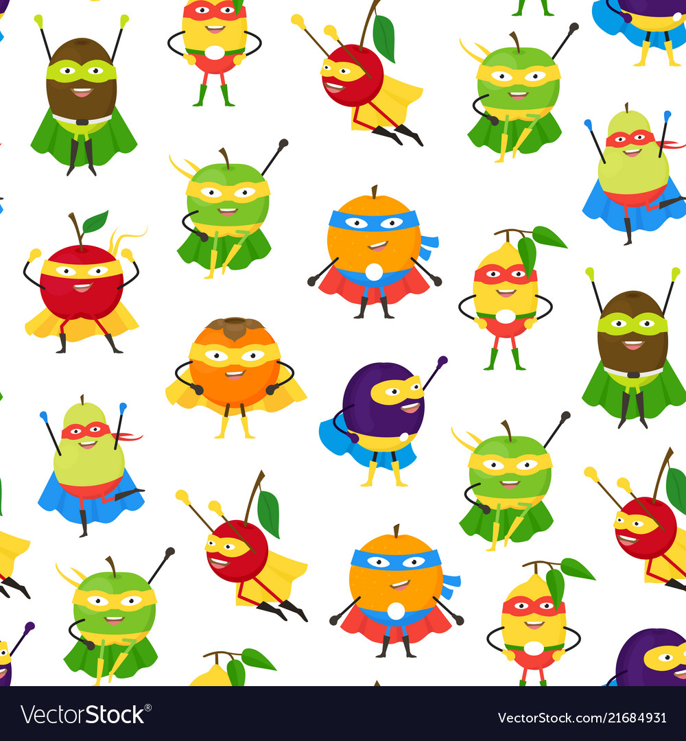 Cartoon vegetables and fruit superhero characters