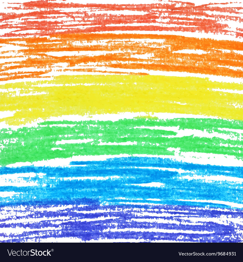Crayon rainbow background vector image