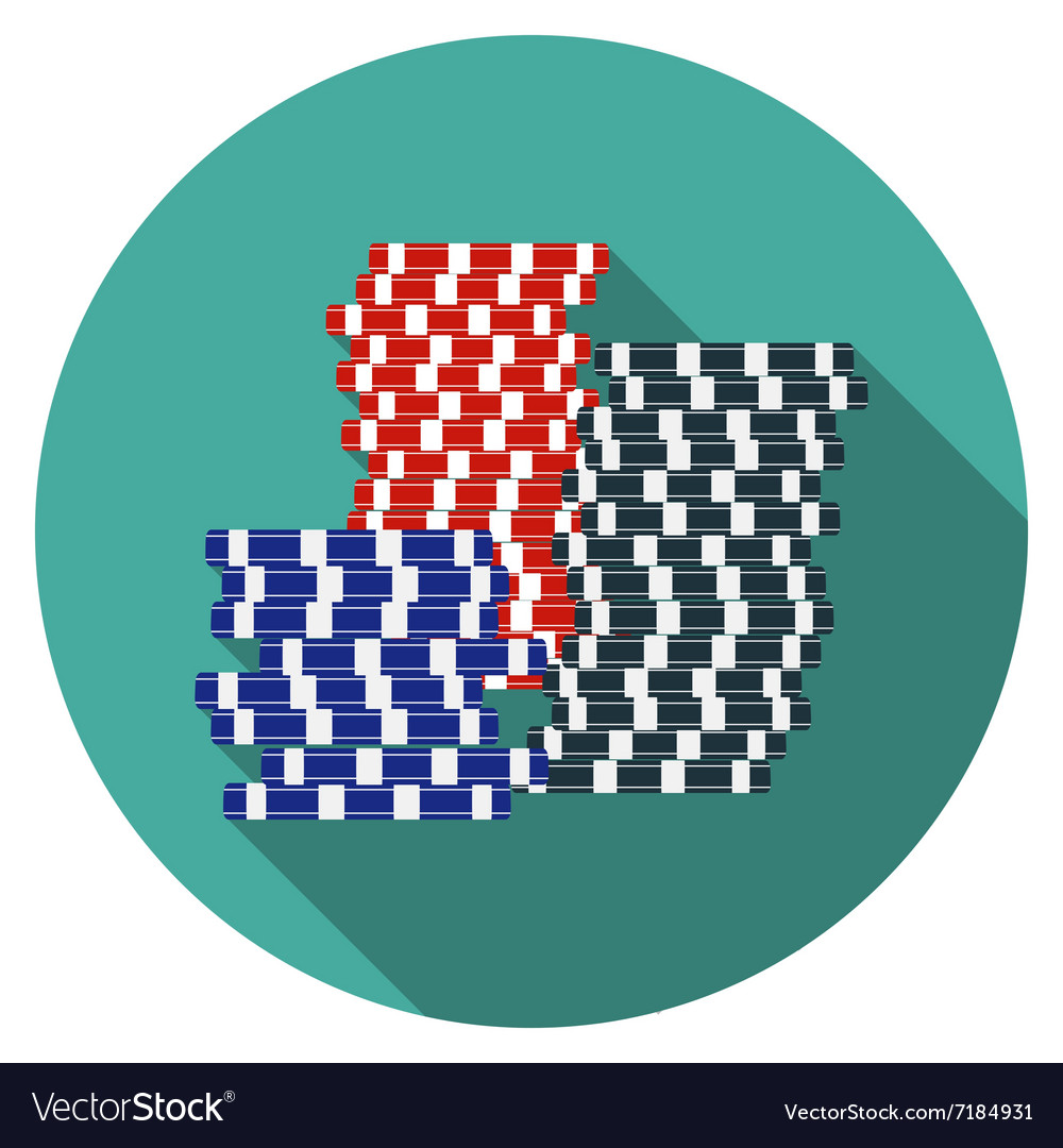 Flat design gambling chips icon with long shadow