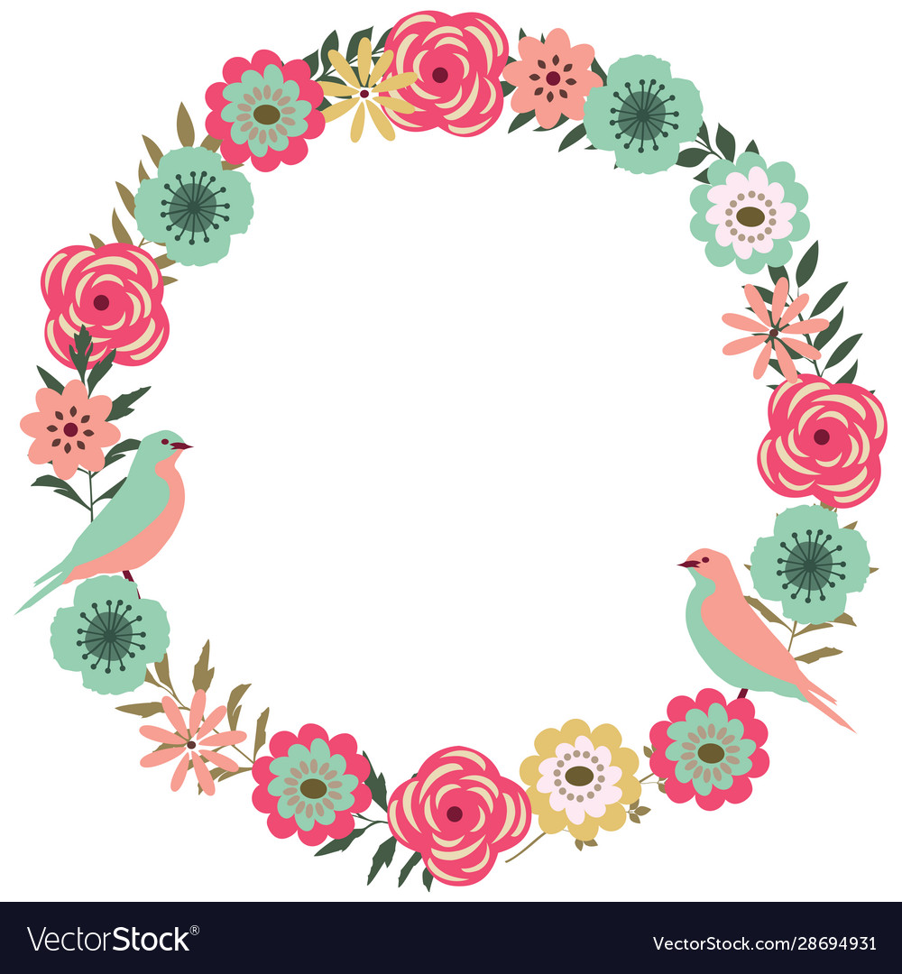 Floral frame with birds