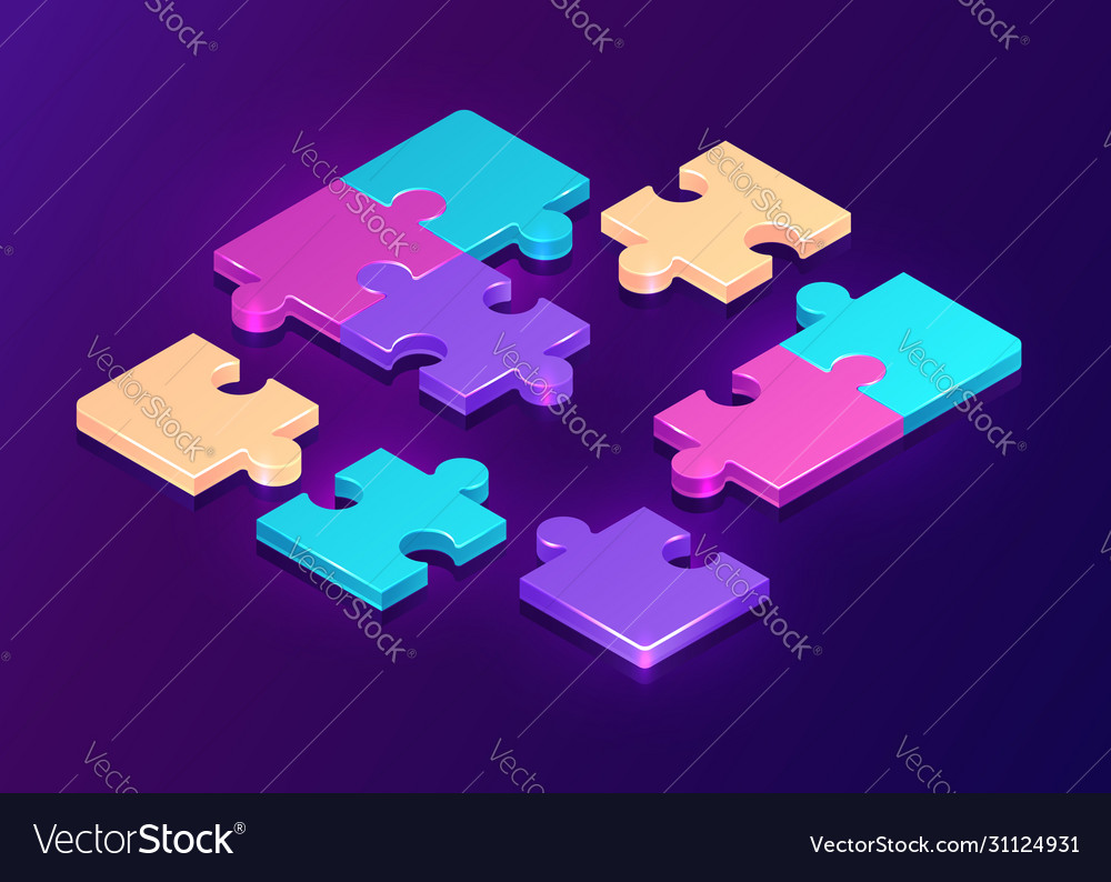 Isometric puzzle pieces on purple background
