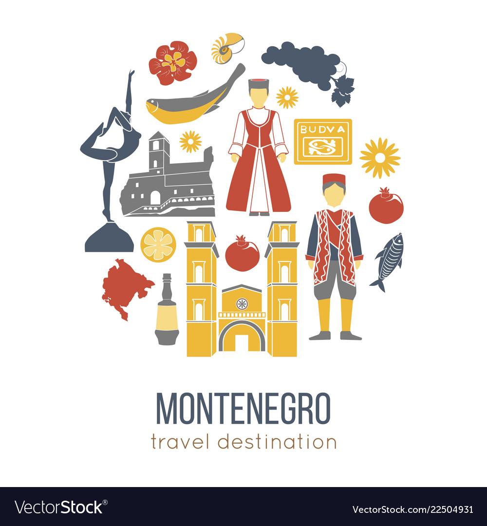 Montenegro cultural symbols set in round shape