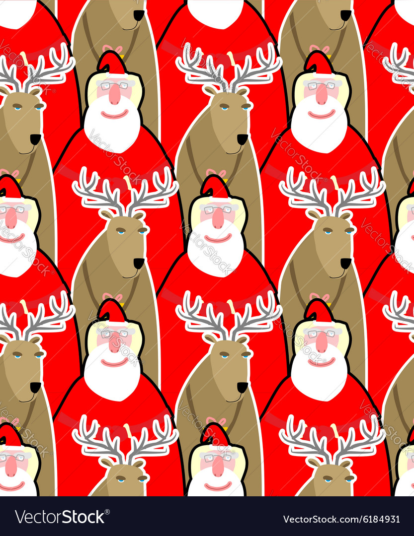 Santa Claus and reindeer seamless background