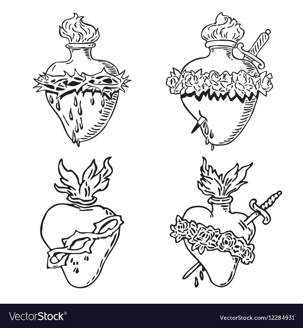 Set Heart of Blessed Virgin Mary tattoo vector image