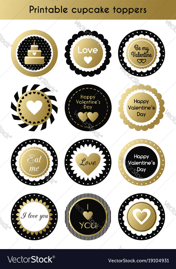image regarding Printable Cupcakes Toppers identify Mounted of printable gold and black cupcake toppers