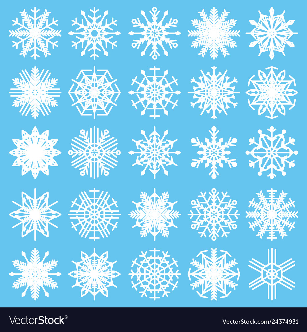 Set with snowflakes on a white background winter