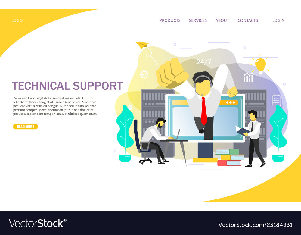 Technical support landing page website template