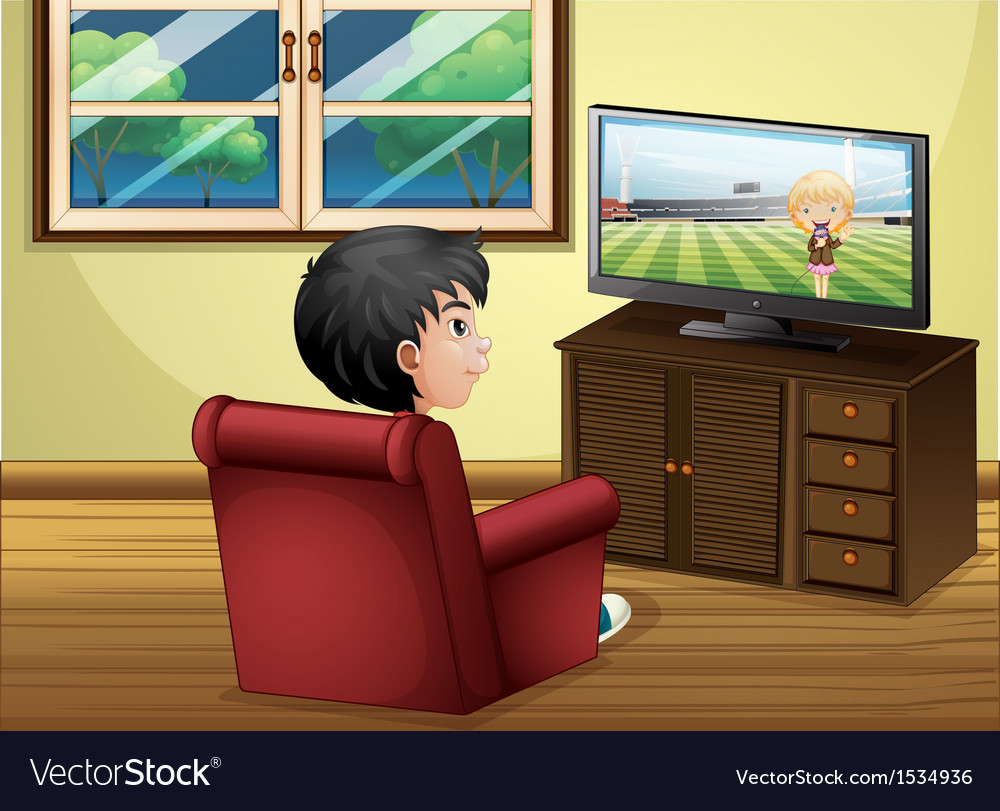 A Young Boy Watching Tv At Living Room Royalty Free Vector