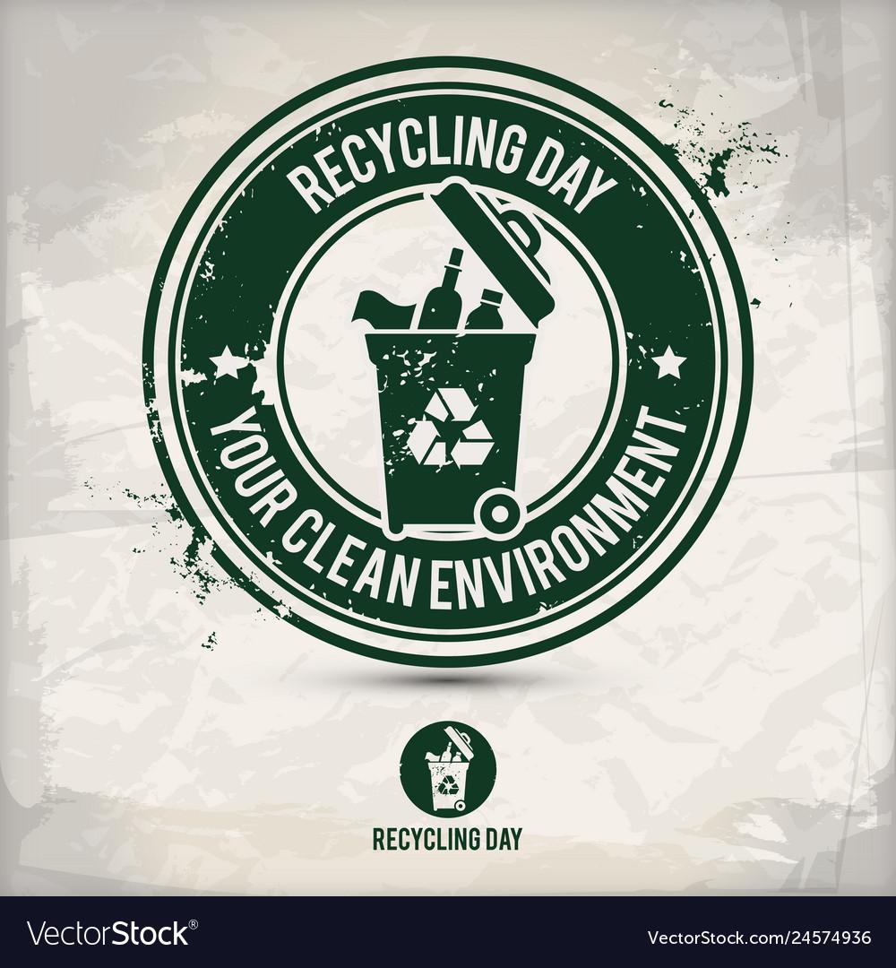 Alternative recycling day stamp