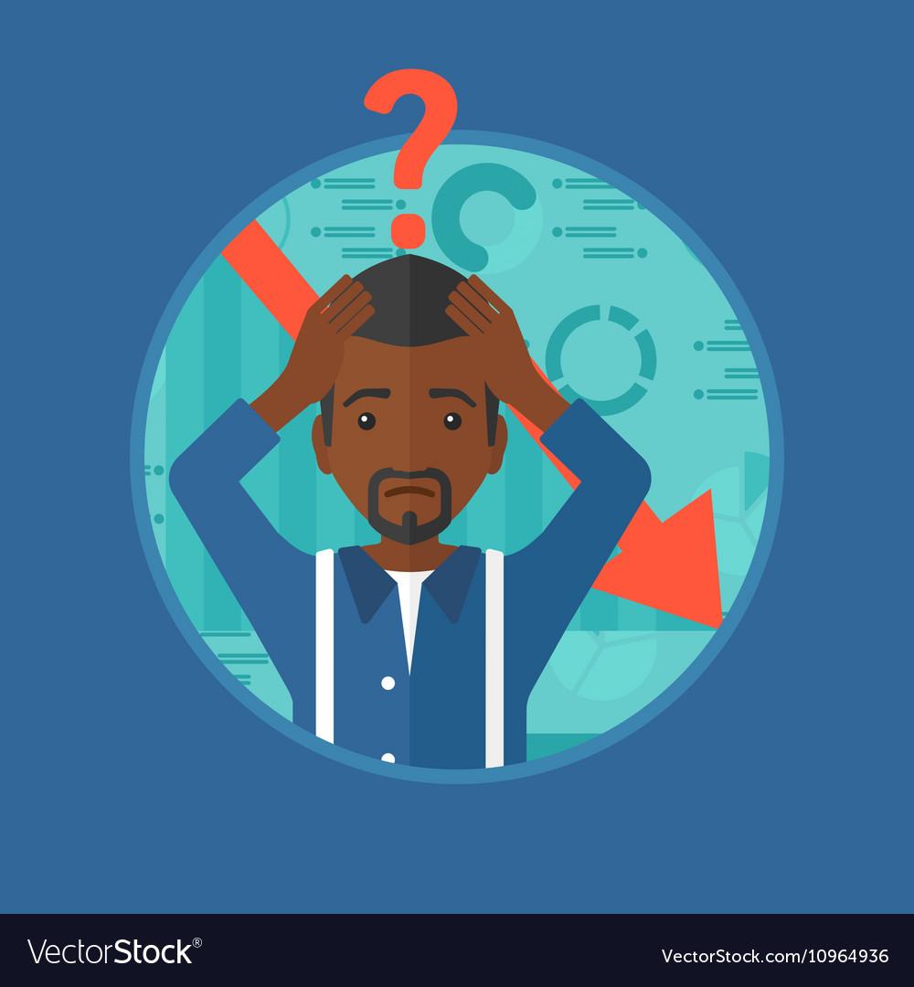 Bankrupt clutching his head vector image